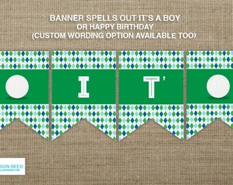 Golf Baby Shower - Golf banner - Golf Birthday - Golf printable - sports banner - sports birthday - sports baby shower - golf decoration