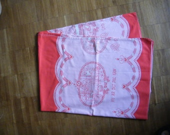 Authentic Christmas Tablecloth - Vintage Swedish Large Tablecloth  - God Helg - Seasonal Table Linens - Tomte Kids - From 60'ies