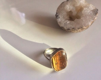 Tigers Eye Vintage Ring, Deep Bezel Set, Semi Precious Stone, Sterling Silver Ring, Sz 7-8