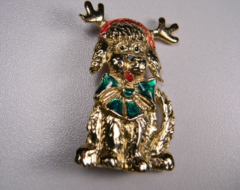 Funny Christmas Dog Brooch or Pin, 80s Vintage