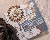 Premade Mini Scrapbook Chipboard Album Beautiful Memories Photos