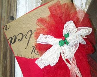 Red Christmas Stocking Bright Red Stocking Handmade Stocking