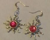 CLEARANCE Sun Pendant Earring with Rhinestone  1 Pair Pink Tibetan Silver Fishhook Style