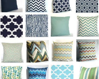 Fabric Sample - Blue, Turquoise, Navy - Pick Solid and Print Fabric Swatches for Decorative Throw Cushions - COUPON Included