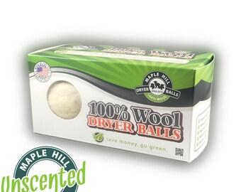 2 Unscented Wool Dryer Balls