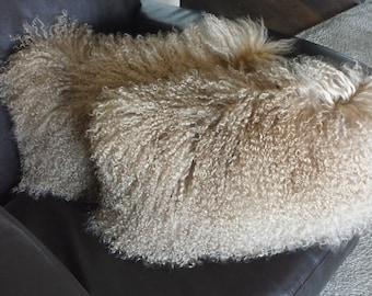 Mongolian lamb pillow pair  Camel Tibetan genuine Fur Cushion Sheepskin