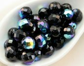10mm Craft Supplies Glass Beads, Black Czech Fire Polished Faceted (12)