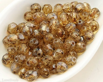 6mm Picasso Amber Faceted Beads, Yellow Fire Polished Czech Glass (35)