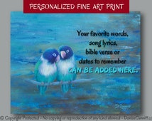 Love bird art print, Brown teal navy blue bedroom decor, Teal wall quote, Song lyrics artwork, Bible verse, Personalized anniversary gift