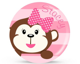 Personalized Plate - Monkey Business - Personalized Plate for Girls