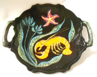 Vallauris Black Hand Painted Sea Life Faience French Vintage Tray / Platter (A877)