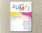 Bounce House Trampoline or Jump Party Invitation for Girl Pink Teal Yellow: Digital