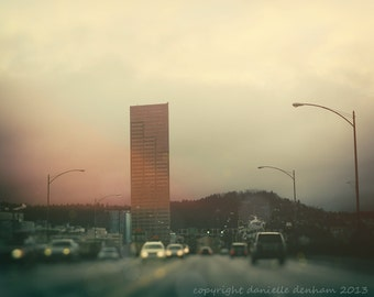 Portland Oregon Photo Burnside Bridge Big Pink Bokeh--Fine Art Lomography 8x10
