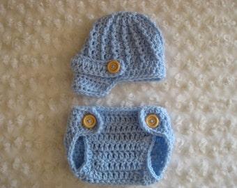 Crochet Baby Hat Newsboy photo prop  light baby blue wooden button diaper cover set