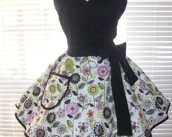 Fifties Style Sweetheart Retro Apron Black with Black and White and Pink Print Circular Flirty Skirt