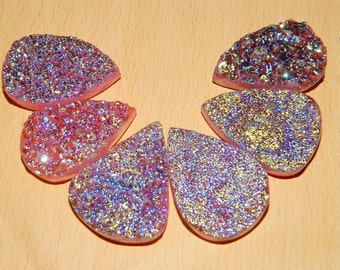 Gorgeous Druzy Pear Shape-Sparkle Full Druzy Pears Briolets Size 20-30mm Hard to find.