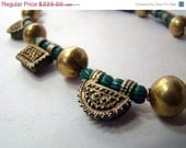 """RESERVED*** ON SALE Ethiopian gold-plated telsum prayer boxes and antique watermelon African trade beads necklace - chunky, tribal  16"""""""