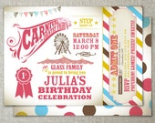 Vintage carnival party invitation with admission ticket design | Kids birthday party idea