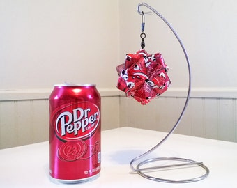Dr Pepper Can Origami Ornament.  Upcycled Recycled Repurposed Art
