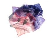 Sleepy owls at dawn silk scarf - scarf with birds - rose and blue colors