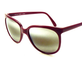 Burgundy Reflective Preppy Sunglasses, Unisex Burgundy Brown Mirror Vintage Sunglasses