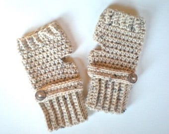 PATTERN:  Oatmeal Button Mitts, PDF easy crochet pattern, Fingerless Gloves, wrist warmers, mittens, InStAnT DoWnLoAd, Permission to Sell