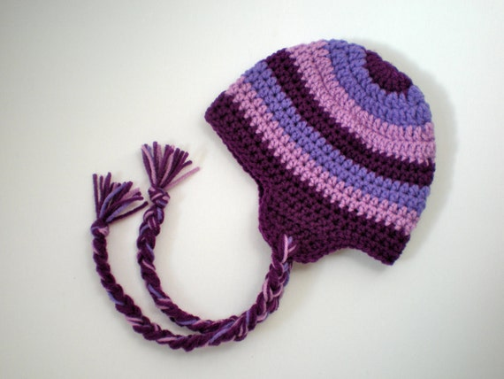 PATTERN:  Striped Earflap Hat- Easy Crochet, Sizes NB to Adult, pink purple tassels pompom, beanie, InStAnT DoWnLoAd, Permission to Sell
