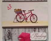 Handmade Stamped and Watercolored Thinking of You Card