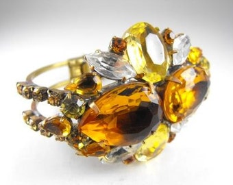 Czech Rhinestone Bracelet Massive Clamper Style Glass Topaz Stones Hinged Golden Brass Metals Lovely Piece