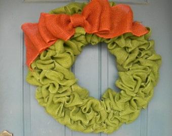 Burlap Wreath Avocado Green With Large Burnt Orange Bow - Harvest Wreath - Fall Wreath- Autumn Wreath  X-Large 25 inch