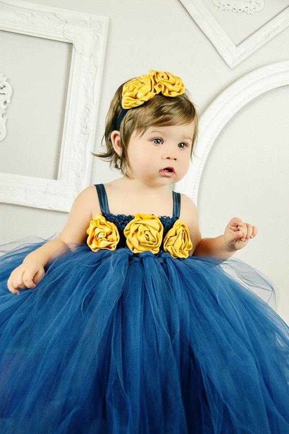 navy blue, mustard yellow, tulle dress, princess party, flower girl, matching headband