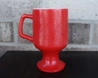 Red Handled, Footed Mug, Vintage Coffee Mug