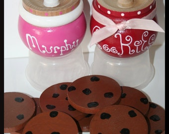 Hand Painted Cookie Jar, Wooden Pot, Jewelry Pot, Pretend Play, Kitchen Set-You Choose Colors- Kids Wooden Toy,