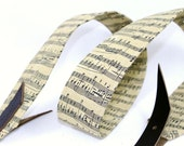 Banjo Strap in Sheet Music Print with Adjustable Leather Ends