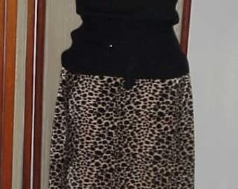 Leopard Skirt  Furry Leopard Straight Skirt  Jazzy Vintage Tracy Evans Wear