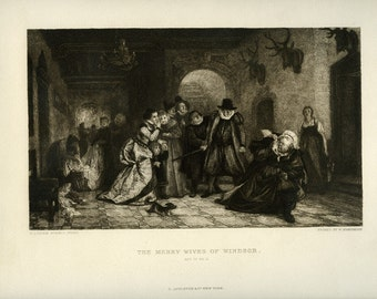 Vintage etching the merry wives of windsor act. four scene two