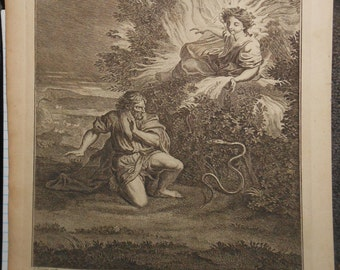 Antique copper plate engraving ca.1775 moses and the flame of fire