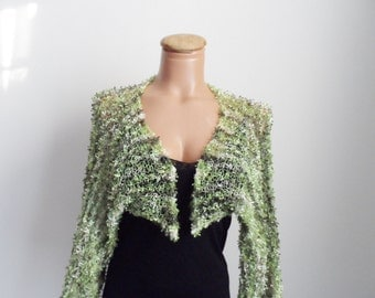 Green Bolero, Hand Knit, Attractive,Elegant, Spring & Summer Fashion