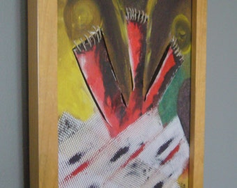 Abstract painting wooden framed / oil painting abstract