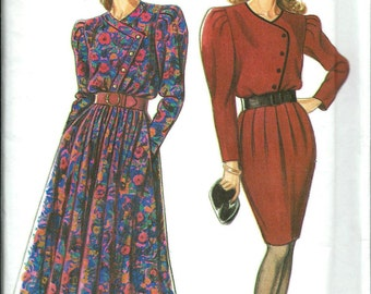 New Look 6600 Misses Asymmetrical Bodice Dress Pattern, Flared or Slim Skrt, 8-20 UNCUT