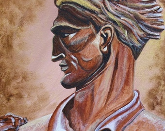 Mountaineer - 10x10 Fine Art Giclee Print - Man - Bronze - Statue - Brown -Portrait - WVU - West Virginia - Handsome