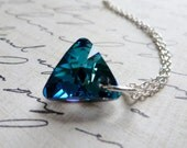 Bermuda Blue Crystal Triangle Prism Necklace / Anti-Tarnish Sterling Silver / Minimalist / Sparkling Caribbean Blue Pendant / SimplyJoli