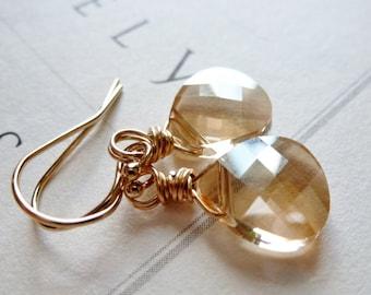Golden Shadow Crystal Earrings / 14K Gold Fill / Champagne / SimplyJoli / White Wine