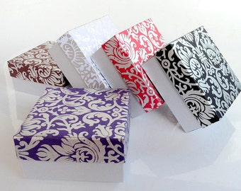 Wedding favor box,Packaging box, Bridesmaid Gift box -10 assorted Damask print and Silver , Jewelry Packaging Boxes