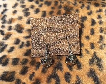 Get Lucky Vegas Dice Hook Earrings Rockabilly Pinup