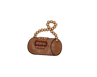 ID #7792 Brown Log Bag Pearl Handle Fashion Iron On Embroidered Patch Applique