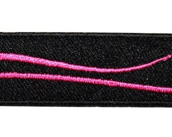 ID #9007 Black Parallelogram with Pink Wave Streak Design Iron On Applique Patch