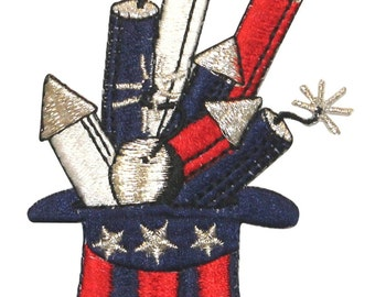 ID #1019 Fireworks Patriotic Hat 4th of July Embroidered Iron On Badge Applique Patch