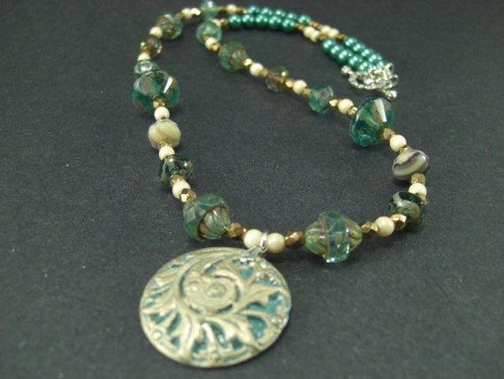 Polymer Clay pendant with pearls and glass beads