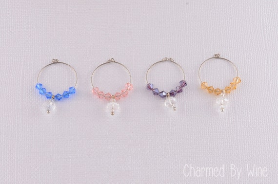 SALE -- Swarovski Crystal Wine Charms:  Wedding, Mother of the Bride, Bridesmaid Gift (handmade set of 4)